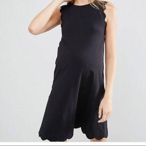 Asos scalloped black maternity dress
